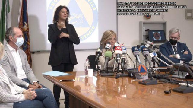 Viviana Da Dalt, Dipartimento Salute della donna e del bambino, Azienda Ospedaliera di Padova, durante la conferenza stampa presso la Protezione civile
