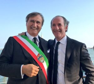Il sindaco di Venezia Luigi Brugnaro e il presidente della regione Veneto Luca Zaia