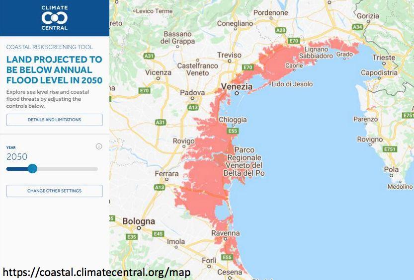 Previsione al 2050 di allagamenti annuali per l'aumento del livello del mare