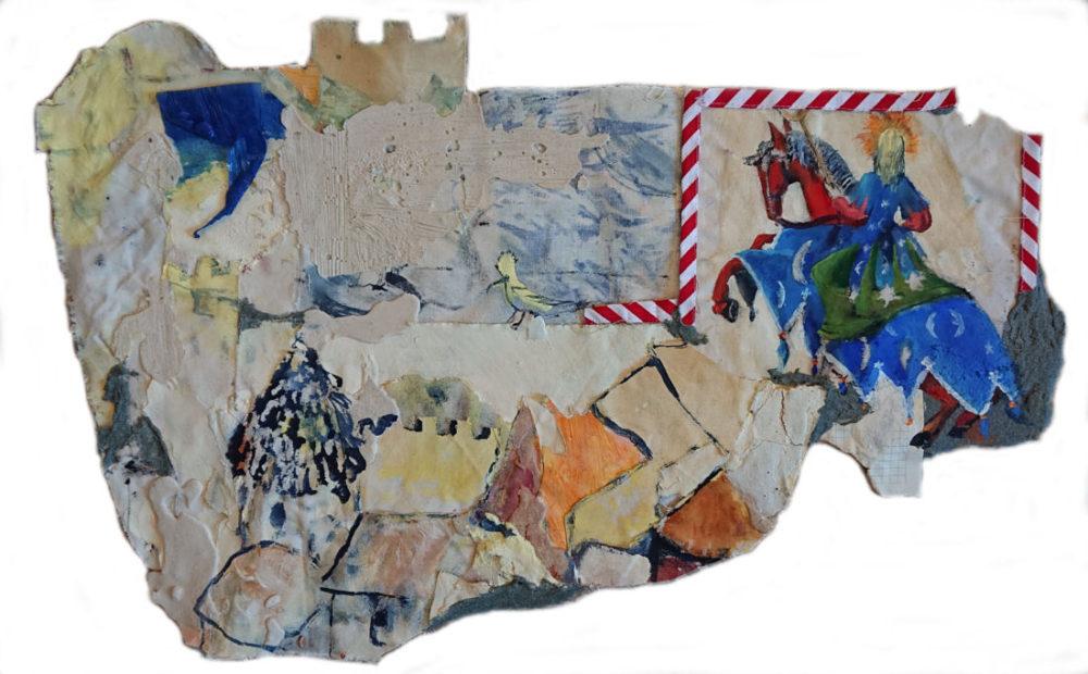 Francesco Battistello, Biancaneve, 2020, Tela, polvere di marmo e colla, 42x63cm. Baratto