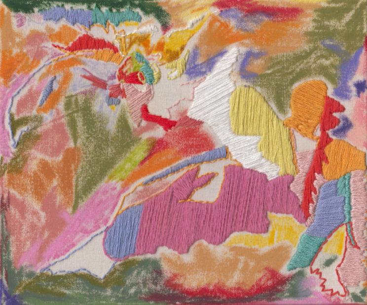Megan Elizabeth Freeman, Colour and string, 2020, ricamo e pastelli ad olio su tela, 16.5x19.5cm. Baratto