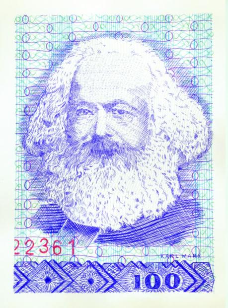 Ryts Monet, Das Kapital (Il capitale), Marx, 2018, Penne a sfera colorate su carta, 21x30cm. Baratto