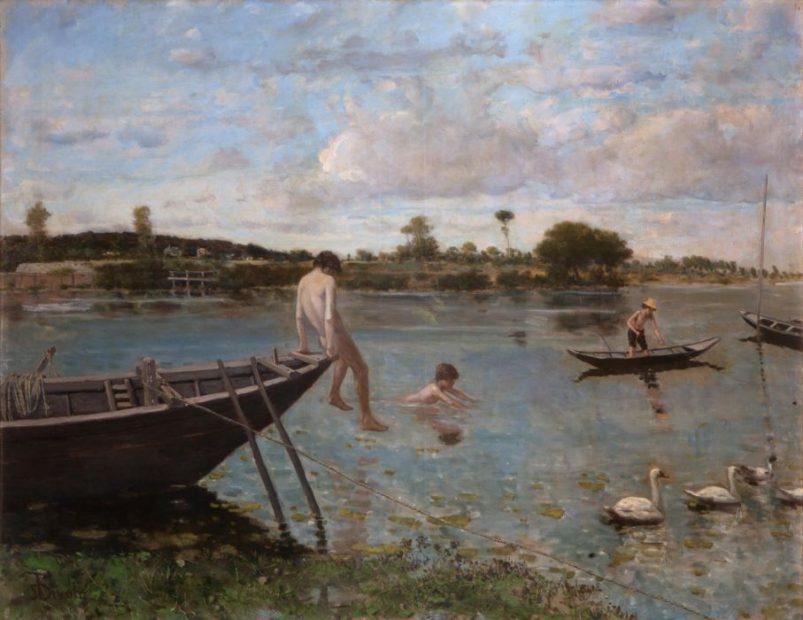 Serafino De Tivoli, L'antica pescaia a Bougival, 1877-1878, Olio su tela, cm. 89,5x116, Collezione privata