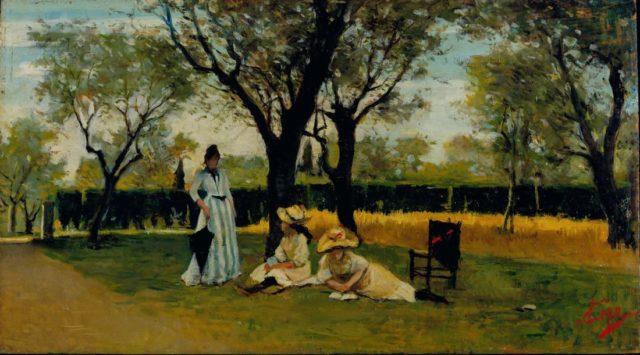 Silvestro Lega, Alla villa di Poggio Piano, 1888-1889, Olio su tavola, cm. 34x60,5, Collezione privata