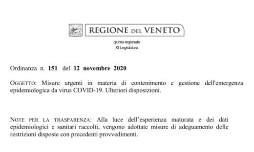 Veneto: ecco il testo della nuova ordinanza di Zaia