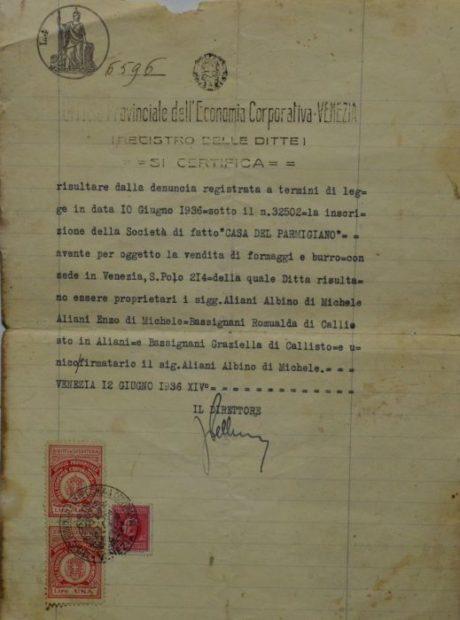 Anno 1936 Regostrazione del negozio Aliani-Casa del Parmigiano