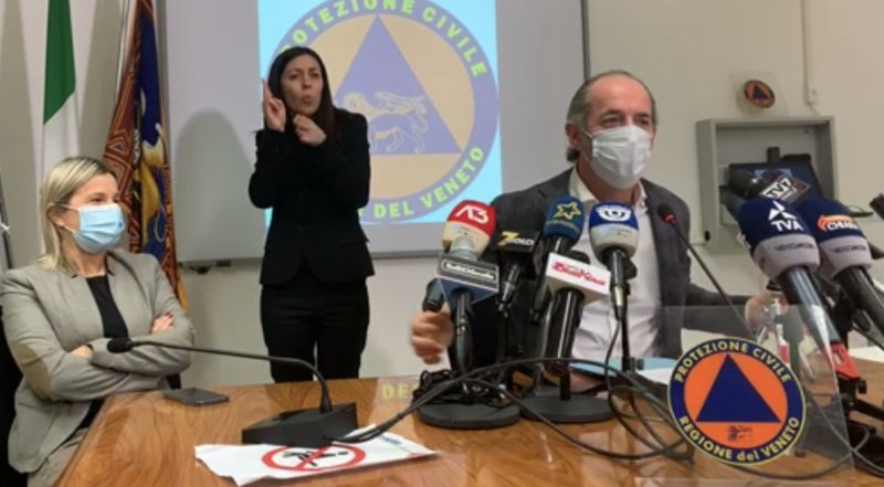 Il presidente della regione Veneto Luca Zaia conferenza stampa 03 dicembre 2020