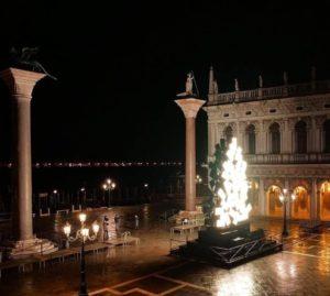 L'albero di Natale di Fabrizio Plessi illuminato in Piazza San Marco, a Venezia