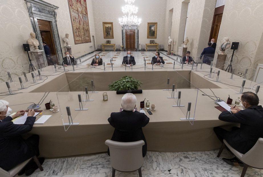 Zingaretti e la delegazione PD nel corso delle consultazioni con Mattarella al Quirinale