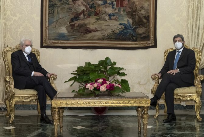 Presidente Mattarella e Presidente Fico , mandato esplorativo