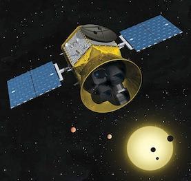 Impressione artistica basata sul design reale di TESS (Transiting Exoplanet Survey Satelllite)