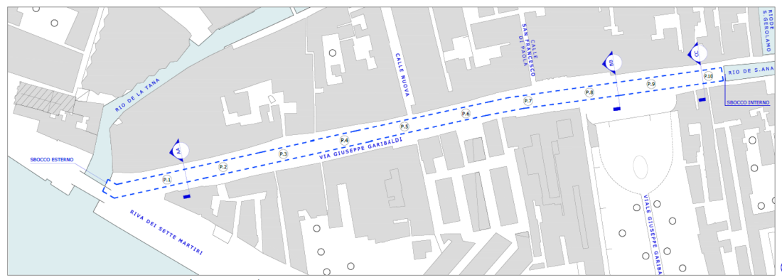 Mappa interventi via Garibaldi