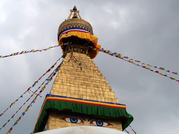 Nepal Katmandu, gli Occhi del Budda stupa di Boudanath