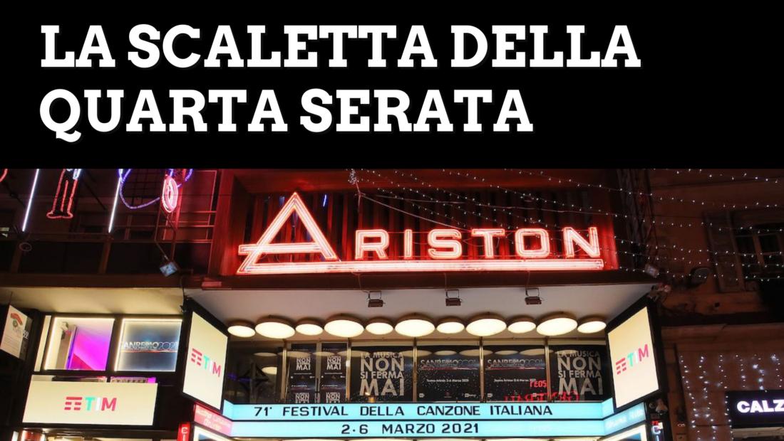 Sanremo 2021: la scaletta della quarta serata. Ecco gli ospiti e i cantanti in gara