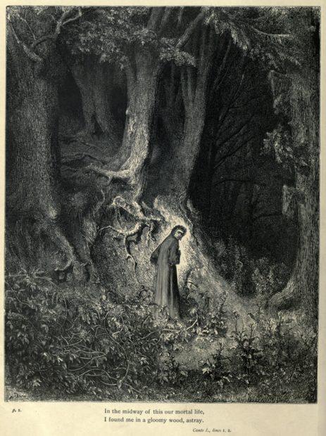 Dante e la Selva Oscura in una raffigurazione di Gustavo Doré