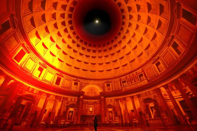 Esempio della proiezione luminosa nel Pantheon @Cosimo Scotucci