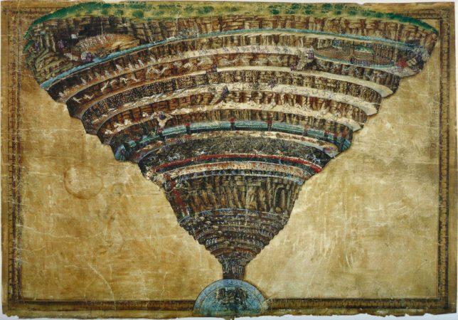 I cerchi dell'Inferno raffigurati da Sandro Botticelli