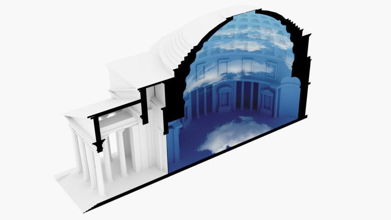 La sezione del Pantheon in modalità camera oscura (credit Cosimo Scotucci)