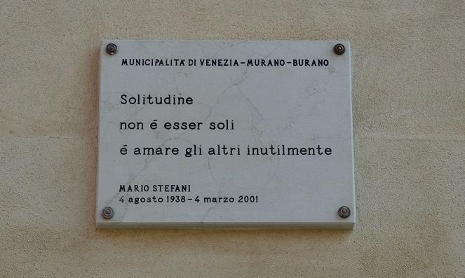 La targa dedicata a Mario Stefani a San Giacomo dall'Orio
