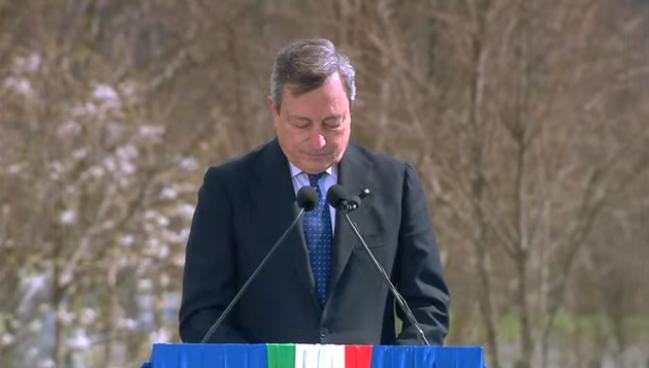 Il premier Mario Draghi a Bergamo 18 marzo 2021