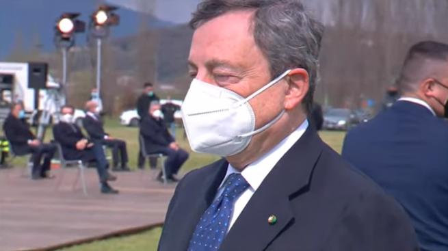 il premier Draghi a Bergamo 18 marzo 2021
