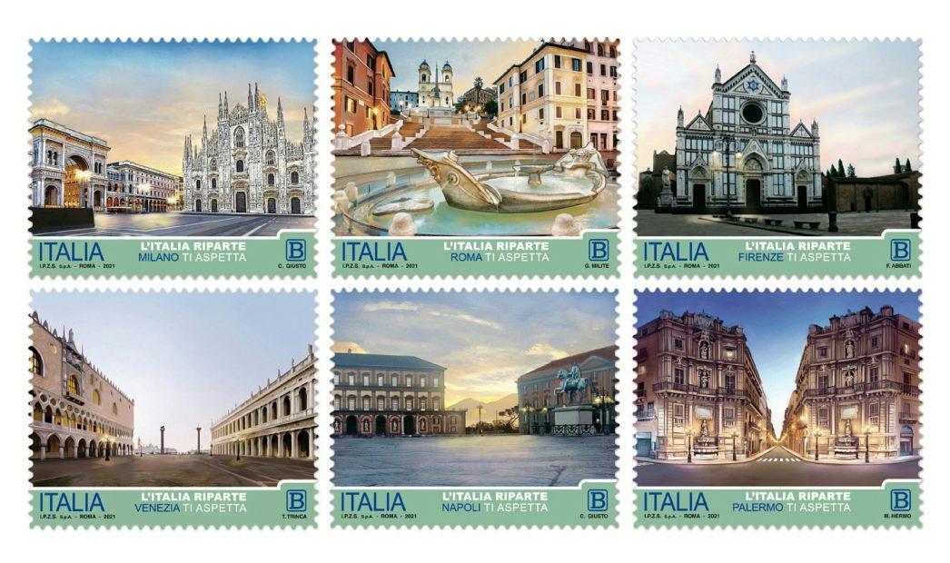 """""""L'Italia riparte"""": emessi 6 francobolli dedicati alle principali città"""